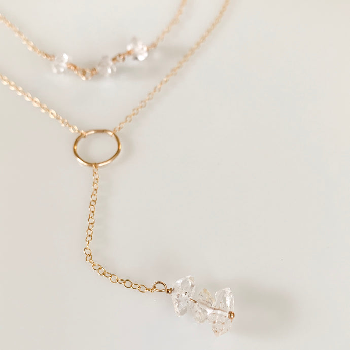 tsuki-jewelry - Herkimer Diamond Y-Necklace - Mikazuki Crystal Co. - Necklace
