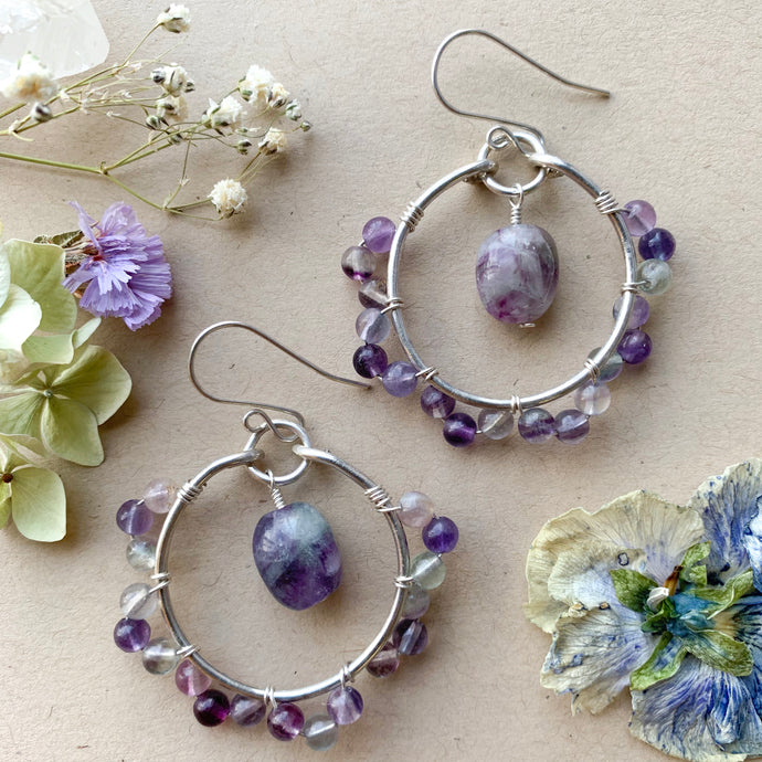 tsuki-jewelry - Fluorite Hoop Earrings - Mikazuki Crystal Co. - Earrings