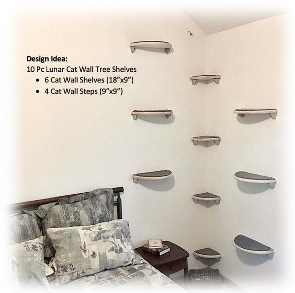Cat Tree Corner Wall Tower Set (6 Tier) | 3 Semi-Round Cat Shelves, 3 Cat Steps