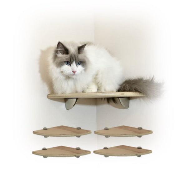 Purrfectly Catastic, cat cats kitten kitty modern contemporary wall mount mounted indoor shelf shelves shelving step steps stairs bed corner condo tower hammock house perch perches furniture climbing handcrafted tree trees tower towers wave modular wood wooden unique carpet canvas living bedrroom playroom