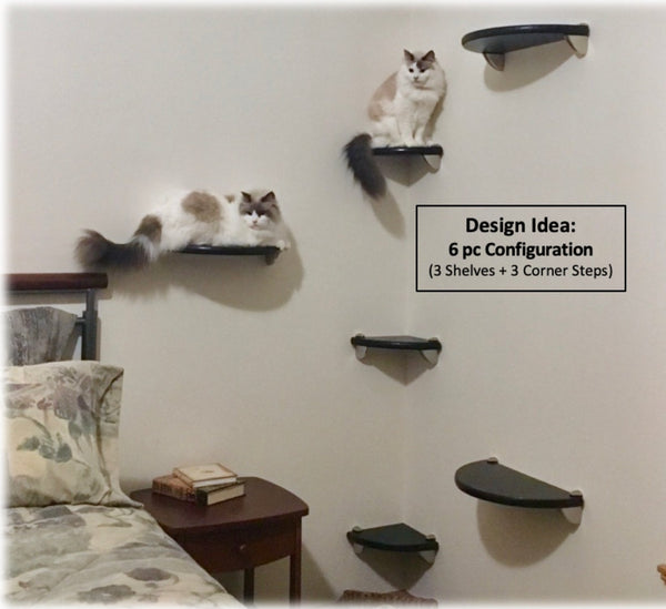 Purrfectly Catastic Creations, Cat Shelf, Cat Shelves, Cat Wall Shelf, Cat Wall Shelves, Cat Perch, Cat Wall Perch, Cat Tree Shelves, Cat Wall Tree Tower,  Handrcrafted modern cat climbing wall mounted furniture cat shelf shelves shelving stairs steps perches trees towers