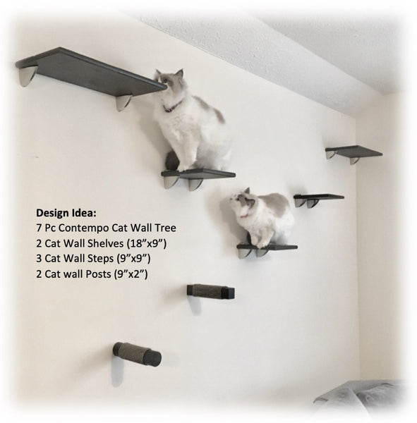 "Cat Wall Steps, Set of 3 -  9""x9"" Square"