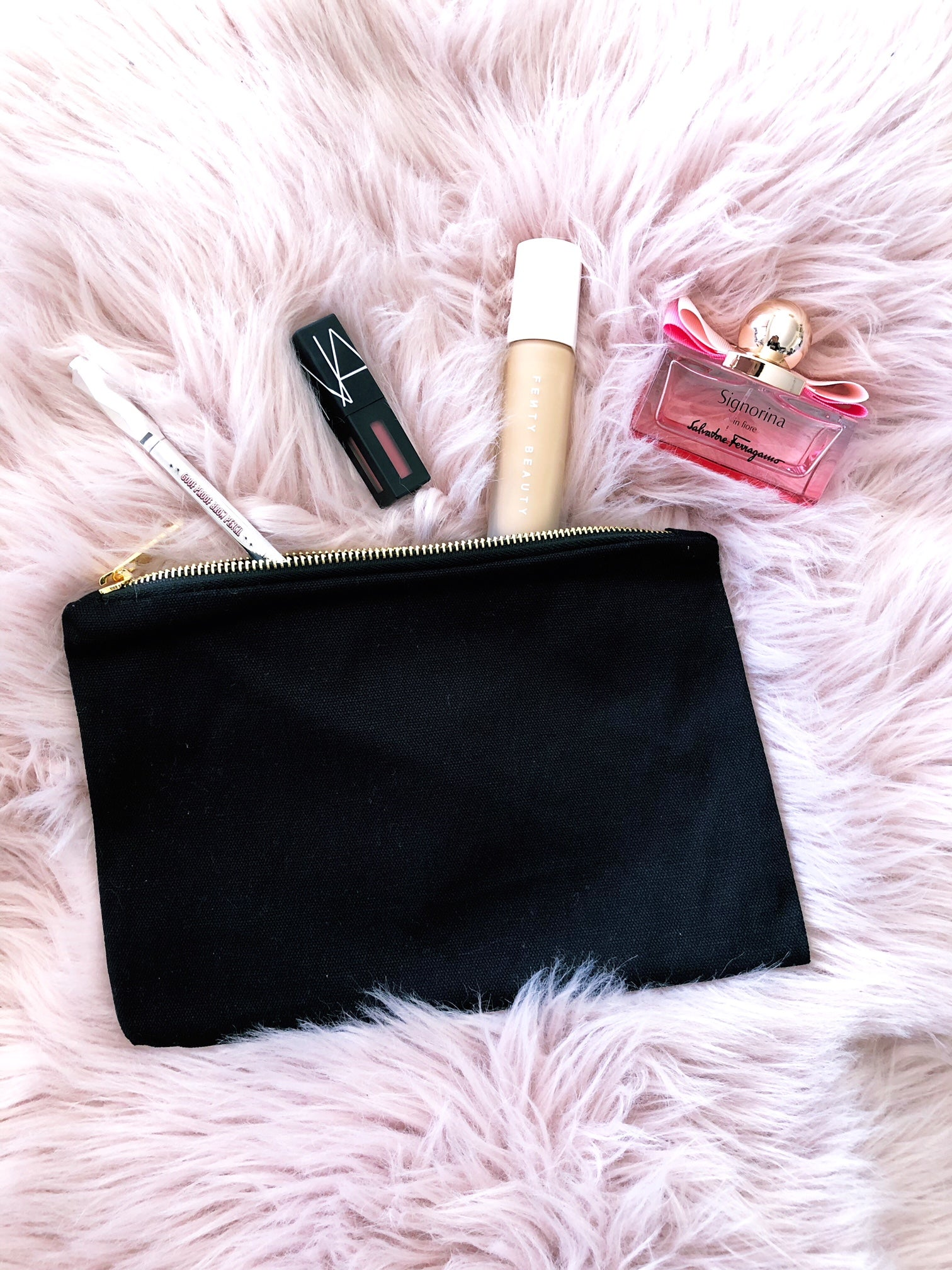 Cosmetic Pouch with Gold Zips