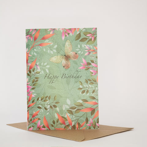 BUTTERFLY AND BLOSSOM - HAPPY BIRTHDAY CARD