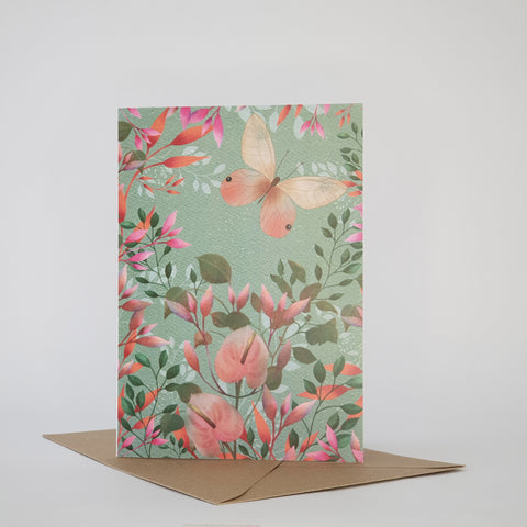 SINGLE BUTTERFLY AND BLOSSOM - BLANK CARD