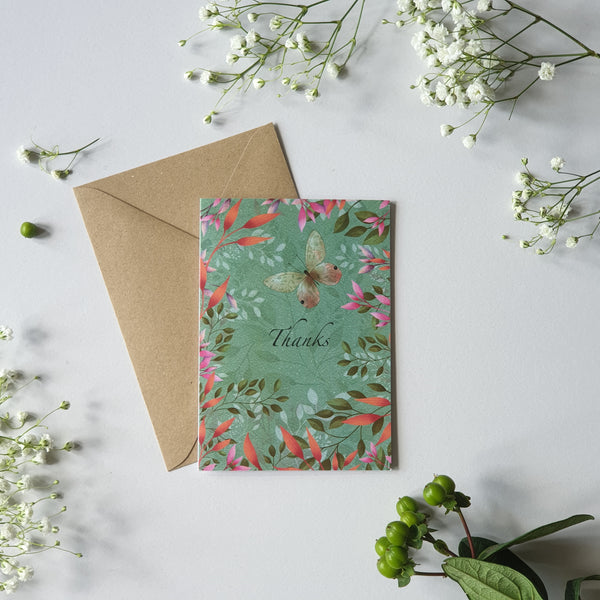BUTTERFLIES AND BLOSSOM - BLANK CARD