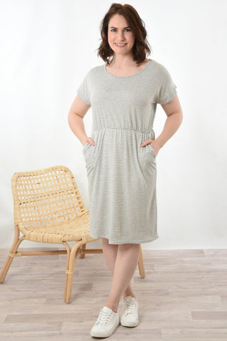 Grey stripe jersey dress, elasticated waist. round neck and above the knee length