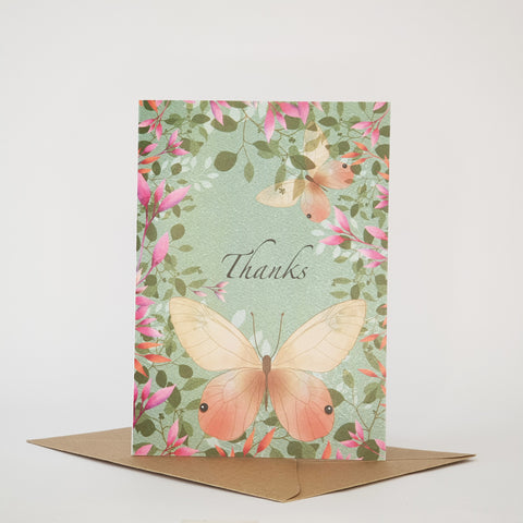 BUTTERFLIES AND BLOSSOM -THANKS CARD - ANY OCCASION