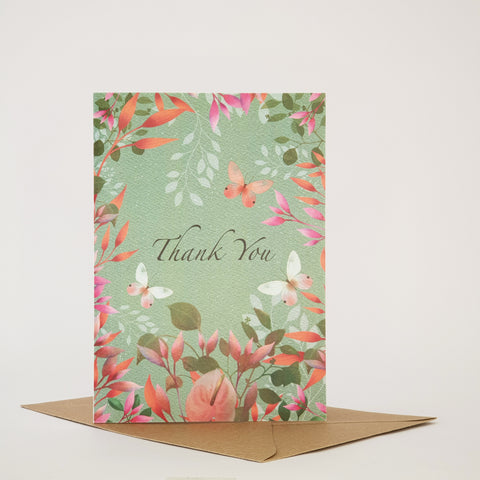 BUTTERFLIES AND BLOSSOM -THANKYOU CARD - ANY OCCASION