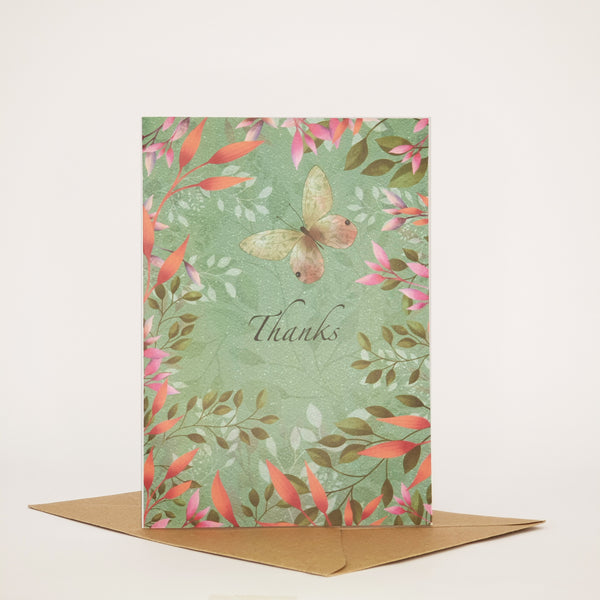BUTTERFLY AND BLOSSOM -THANKS CARD - ANY OCCASION