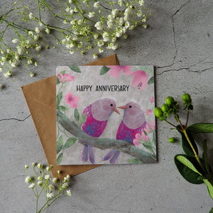 LOVE BIRDS HAPPY ANNIVERSARY CARD  2