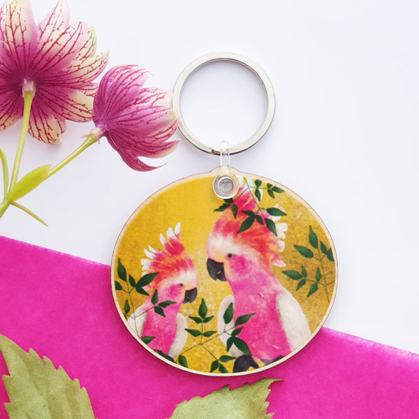 Bright  and cheerful yellow cocktail wooden keychain