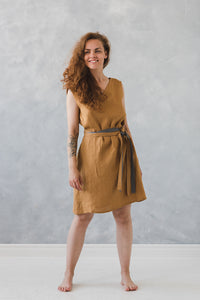 LINEN SUNDRESS WITH TWO BELTS