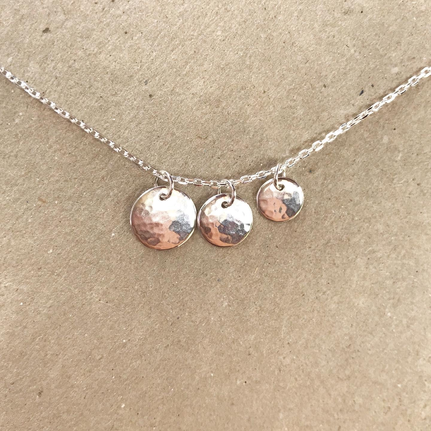 HAMMERED CHARM NECKLACE- RECYCLED SILVER