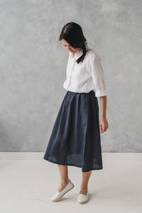 LINEN SKIRT BLACK STRIPES