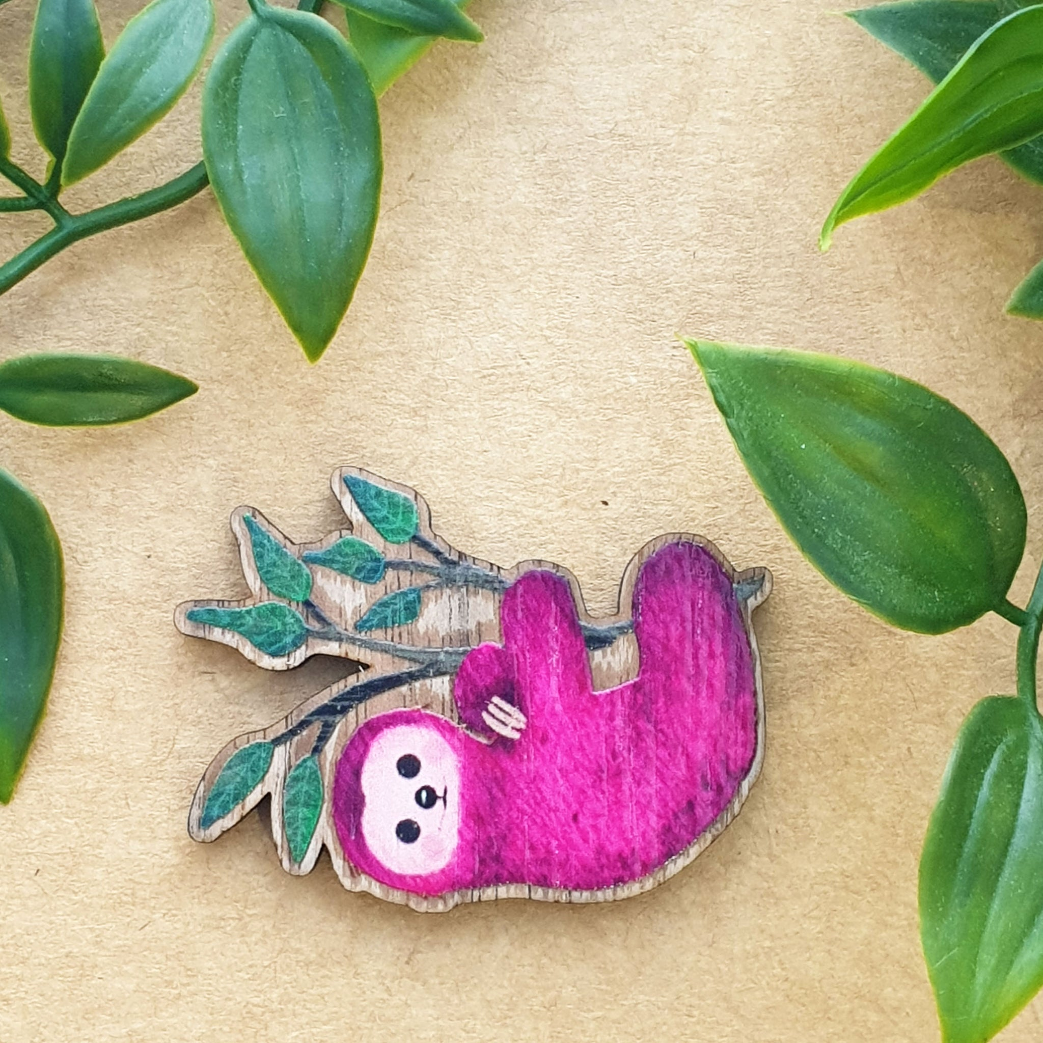 PINK SLOTH BROOCH