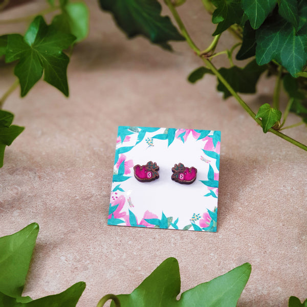little pink wooden sloth studs