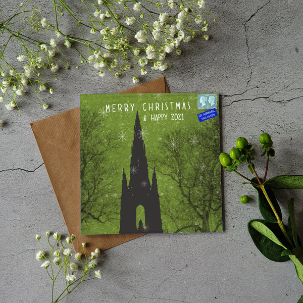 SCOTT MONUMENT CHRISTMAS CARD GREEN