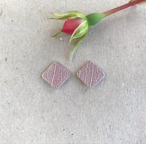 SQUARED LEAF TEXTURE STUDS - RECYCLED SILVER