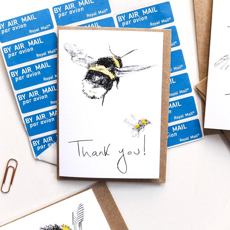 MINI BEE THANK YOU NOTELETS WITH ENVELOPE