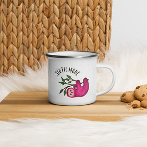 Pink Sloth Mode Enamel Mug - Design Exclusive
