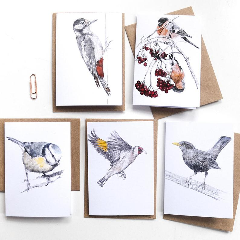 MINI - GARDEN BIRDS - THANK YOU NOTELETS WITH ENVELOPE