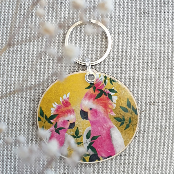Bright yellow cocktail  wooden keychain