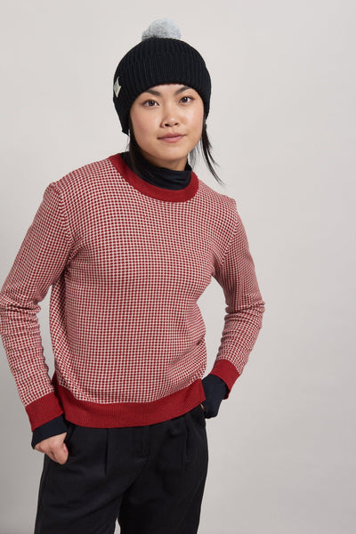 HANNA JUMPER ORGANIC COTTON JUMPER- BURNT RED & OATMEAL