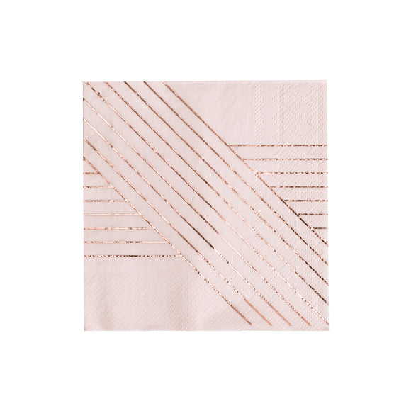 Amethyst Pale Pink Striped Cocktail Napkin
