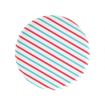 Cherry Red and Sky Blue Striped Plates (Large)