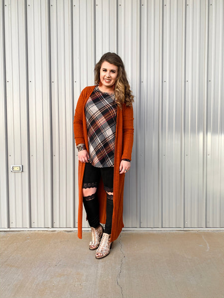 Thankfully Plaid Long Sleeve Top