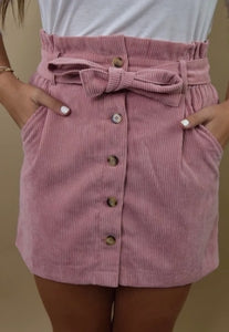 Light Pink Corduroy Skirt with Tie