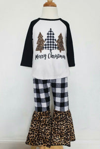 Black White Plaid Cheetah Christmas Tree Set