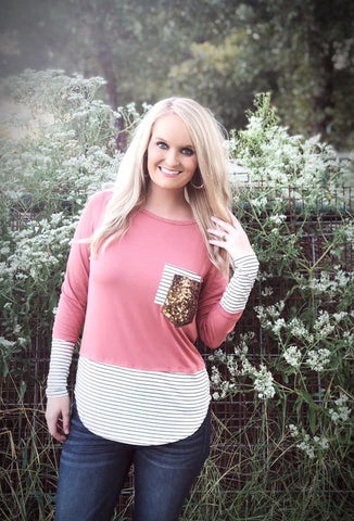 Rose Sequin Double Pocket Top