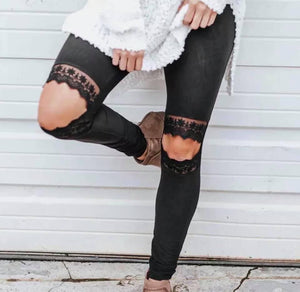 Black Leggings with Lace