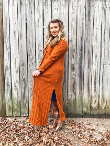 Rust Open Front Long Cardigan