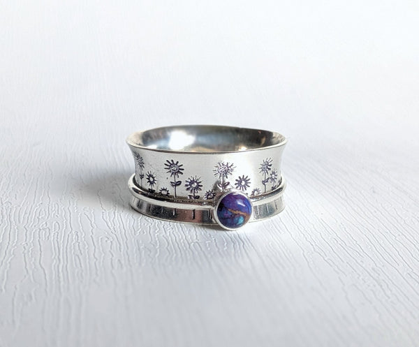 Sterling Silver Flower Spinner Ring Size 9.5 US handmade by An American Metalsmith