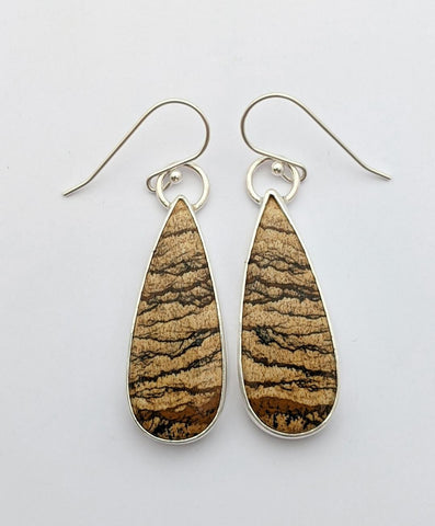 Sterling Silver Picture Jasper Earrings