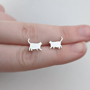 Sterling Silver Fat Cat Stud Earrings