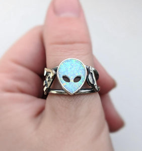 Sterling Silver Flying Saucer Aura Opal Ring Size 7