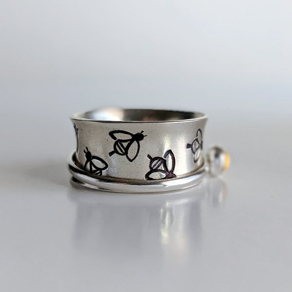 Sterling Silver Citrine Bee Spinner Ring handmade by An American Metalsmith