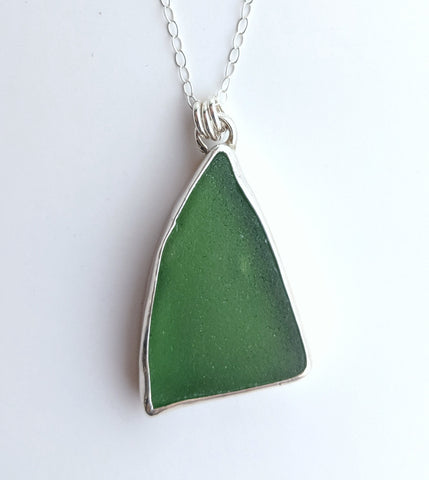 Sterling Silver Sea Glass Pendant handmade by An American Metalsmith