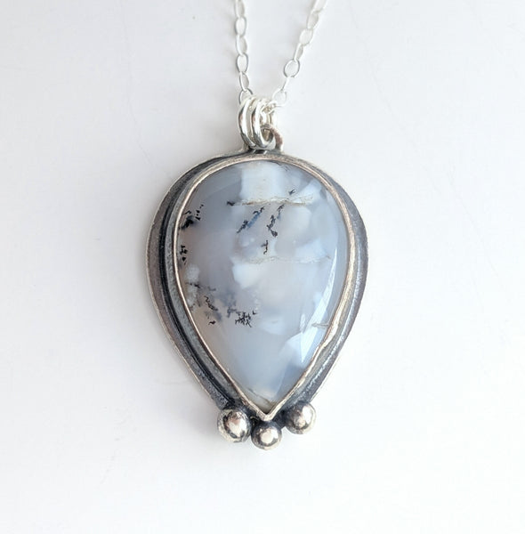 Sterling Silver Dendritic Agate necklace handmade by An American Metalsmith