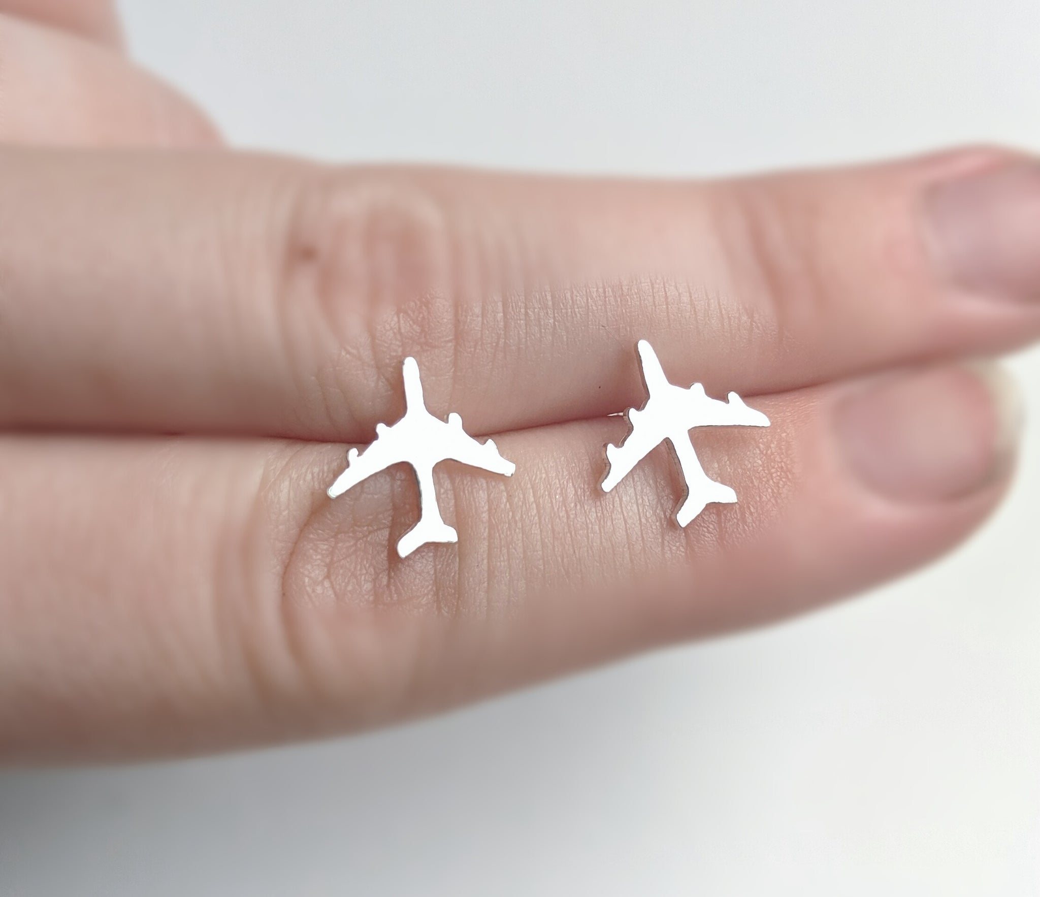 Sterling Silver Airplane Earrings