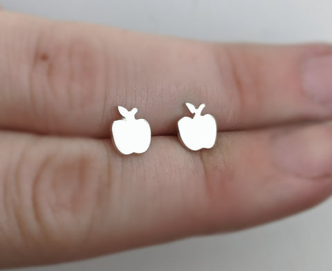 Sterling Silver Apple Studs Handmade by An American Metalsmith