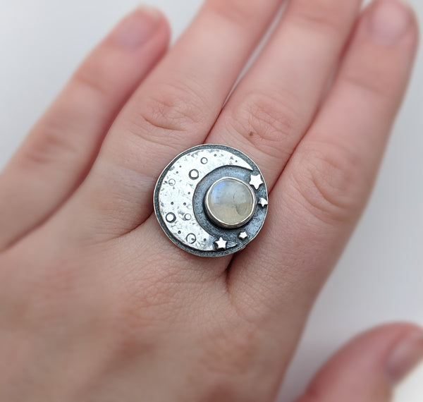 Sterling Silver Moon and Moonstone Ring