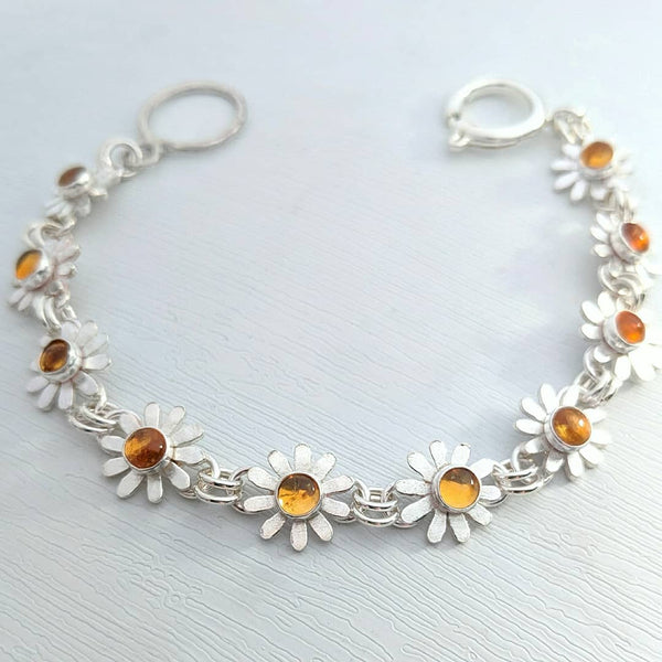 Sterling Silver Daisy Necklace with Citrine.