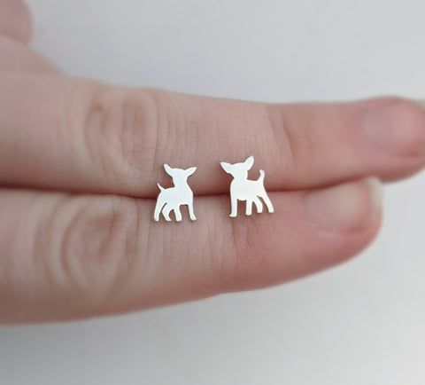 Sterling Silver Chihuahua Stud Earrings