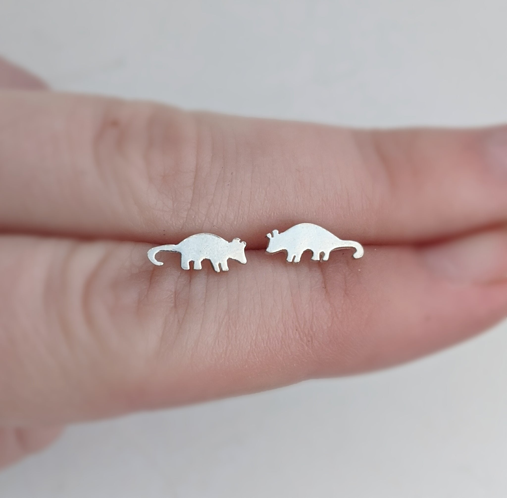 Sterling Silver Opossum Stud Earrings