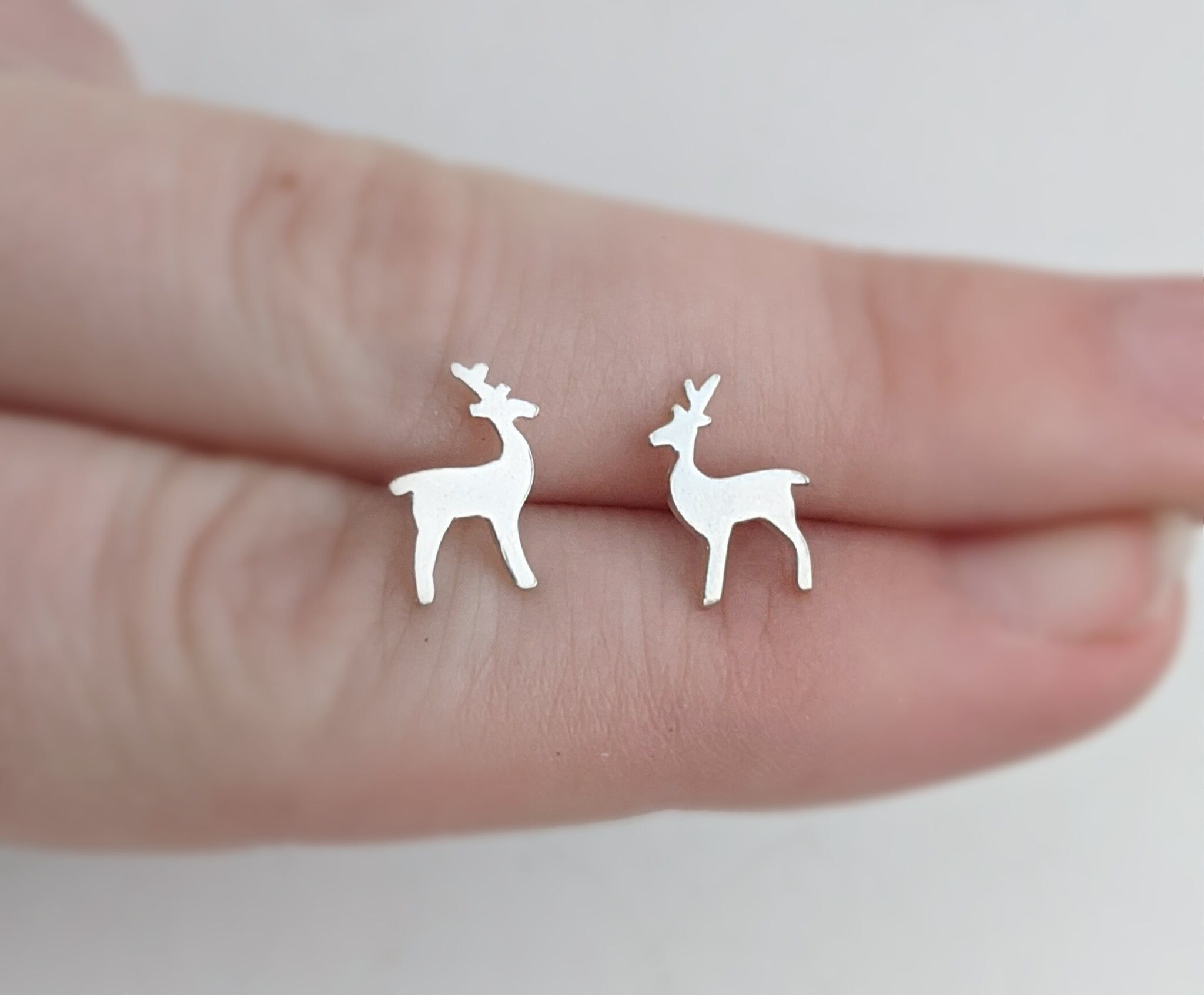 Sterling Silver Reindeer Stud Earrings